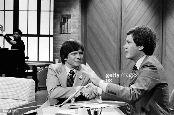 President Jimmy Carter's son James Chip Carter host David Letterman on August 11 1980
