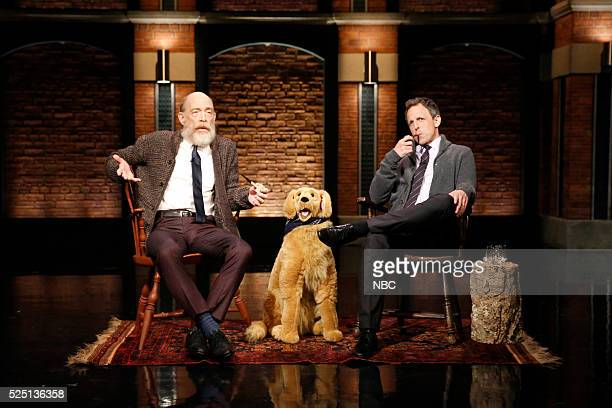 Actor JK Simmons and host Seth Meyers during the 'Back in My Day' sketch on April 27 2016