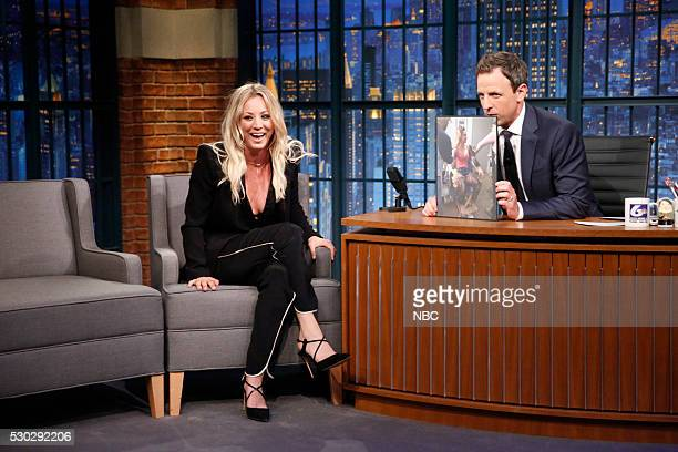 Actress Kaley Cuoco during an interview with host Seth Meyers on May 10 2016