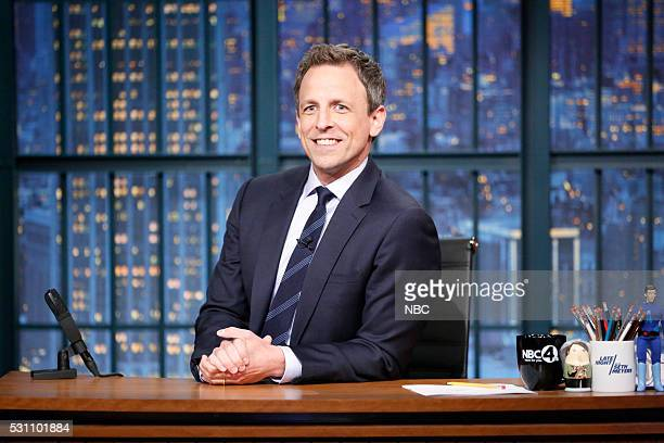 Host Seth Meyers at his desk on May 12 2016