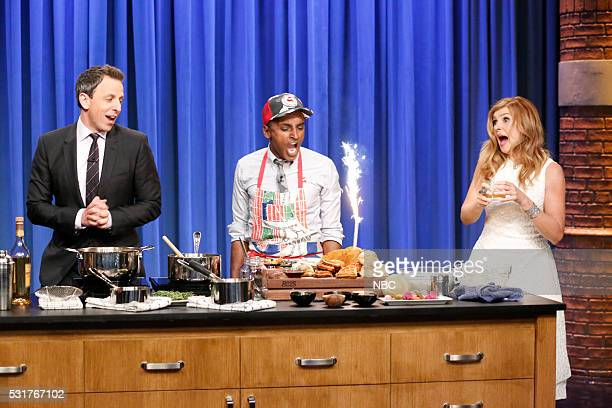 Host Seth Meyers chef Marcus Samuelsson actress Connie Britton during a cooking segment on May 16 2016