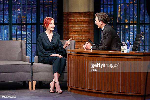 Actress Greta Gerwig during an interview with host Seth Meyers on May 17 2016