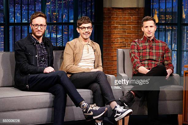 Akiva Schaffer Jorma Taccone and Andy Samberg of 'The Lonely Island' during an interview on May 17 2016