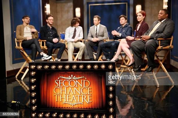 "Jorma Taccone Akiva Schaffer Andy Samberg host Seth Meyers Collin Jost Greta Gerwig and Kenan Thompson during the Second Chance Theater sketch ""Wanna..."