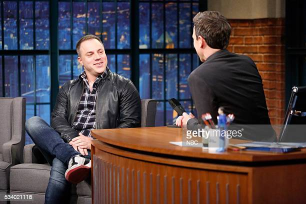 Chief Creative Officer at DC Comics Geoff Johns during an interview with host Seth Meyers on May 24 2016
