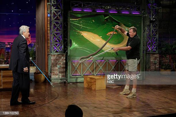 LENO Episode 3755 Air Date Pictured Host Jay Leno reptile expert Jules Sylvester with the deadly Black Mamba snake on May 1 2009