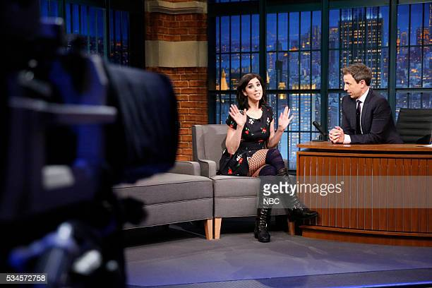 Episode 377 -- Pictured: Comedian Sarah Silverman during an interview with host Seth Meyers on May 26, 2016 --