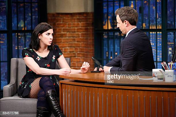 Comedian Sarah Silverman during an interview with host Seth Meyers on May 26 2016