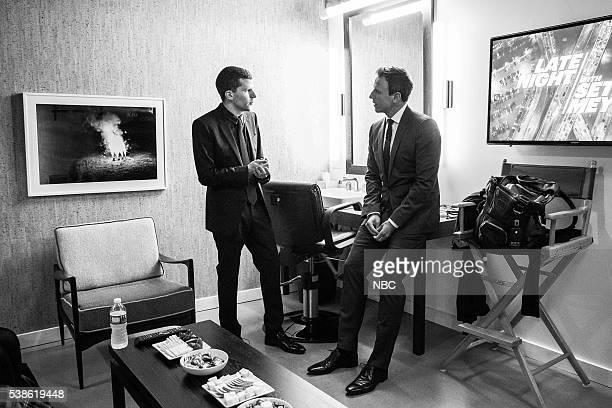 MEYERS Episode 378 Pictured Actor Jesse Eisenberg talks with host Seth Meyers backstage on June 6 2016