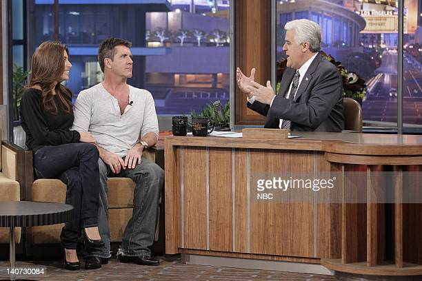 American Idol judge Simon Cowell introduces his fiance Mezhgan Hussainy during an interview with host Jay Leno on March 8 2010 Photo by Paul...