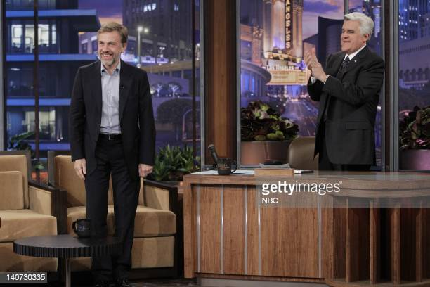 Actor Christoph Waltz during an interview with host Jay Leno on March 9 2010 Photo by Paul Drinkwater/NBCU Photo Bank
