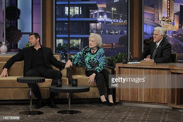 Actor Hugh Jackman actress Betty White during an interview with host Jay Leno on March 16 2010 Photo by Paul Drinkwater/NBCU Photo Bank