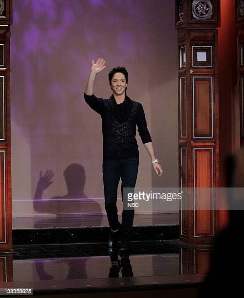 Olympic figure skater Johnny Weir arrives during an interview on March 22 2010