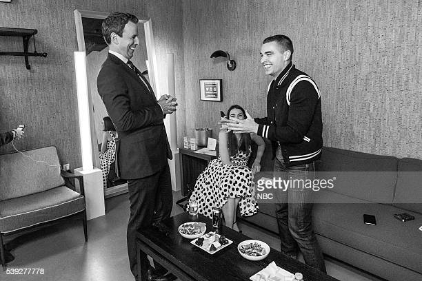 MEYERS Episode 381 Pictured Hiost Seth Meyers with Actor Dave Franco backstage on June 9 2016
