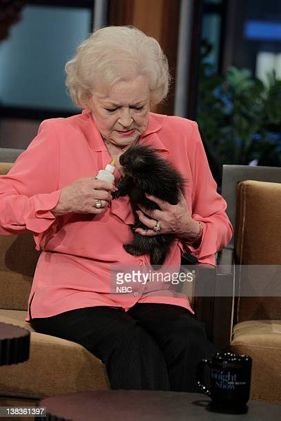 Actress Betty White feeds a baby porcupine during an interview on May 12 2010