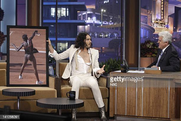 Actor/comedian Russell Brand during an interview with host Jay Leno on May 24 2010 Photo by Paul Drinkwater/NBCU Photo Bank