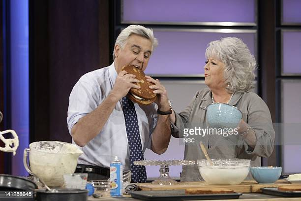 Host Jay Leno with chef Paula Deen during a cooking segment on May 26 2010 Photo by Paul Drinkwater/NBCU Photo Bank