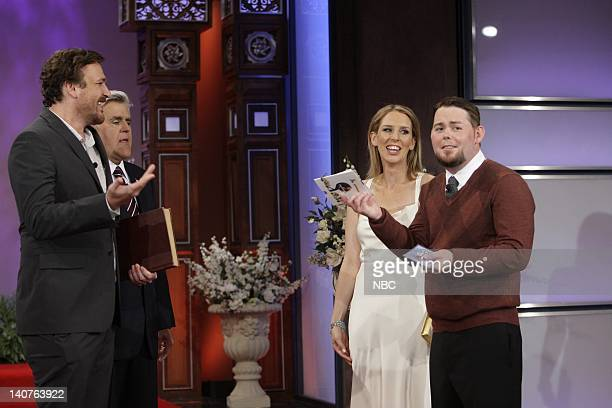 Episode 3854 -- Pictured: Actor Jason Segel and host Jay Leno marry Abbe Thorner and Jason Wood on July 6, 2010 -- Photo by: Stacie McChesney/NBCU...