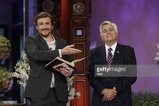 Episode 3854 -- Pictured: Actor Jason Segel and host Jay Leno prepare to marry two fans of Jason Segel on July 6, 2010 -- Photo by: Stacie...