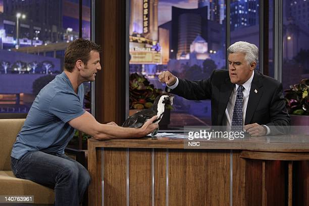 Animal expert Dave Salmoni with a baby penguin during an interview with host Jay Leno on July 7 2010 Photo by Stacie McChesney/NBCU Photo Bank