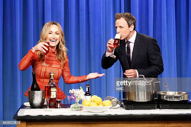 Episode 387 -- Pictured: Chef Giada De Laurentiis during a cooking segment with host Seth Meyers on June 21, 2016 --
