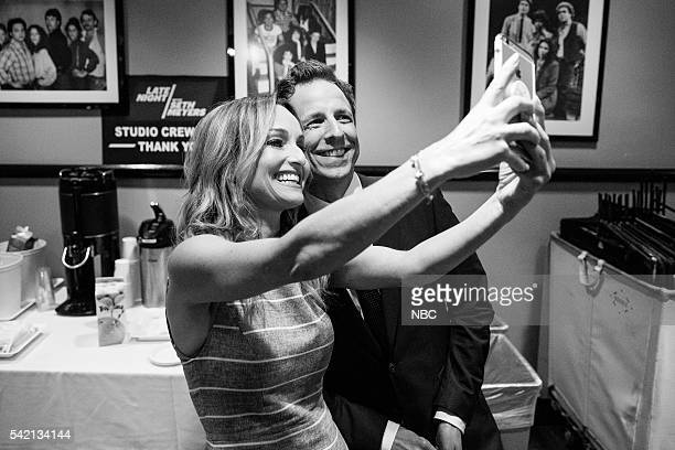 MEYERS Episode 387 Pictured Chef Giada De Laurentiis talks a selfie with host Seth Meyers backstage on June 21 2016