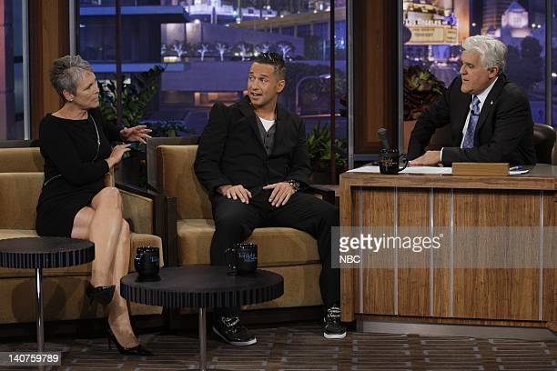 Actress Jamie Lee Curtis television personality Mike 'The Situation' Sorrentino during an interview with host Jay Leno on September 14 2010 Photo by...