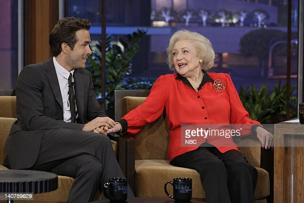 Actor Ryan Reynolds and actress Betty White during an interview on September 22 2010 Photo by Paul Drinkwater/NBC/NBCU Photo Bank