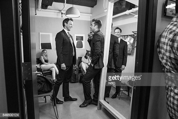 MEYERS Episode 390 Pictured Host Seth Meyers talks with actor Scott Speedman backstage on July 11 2016