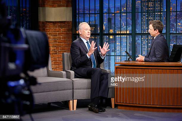 Episode 392 -- Pictured: Political commentator, Bill O'Reilly, during an interview with host Seth Meyers on July 13, 2016 --