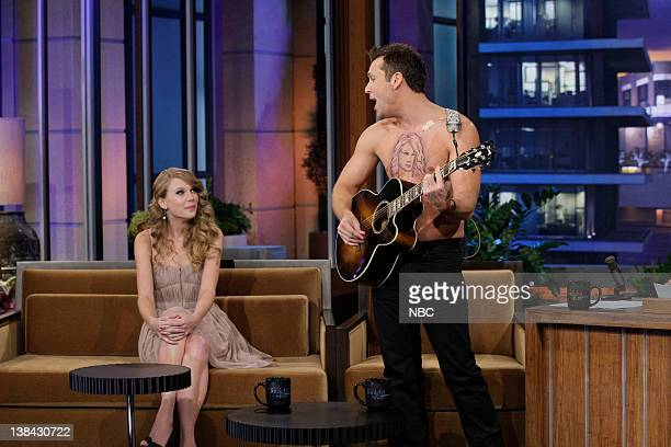 Comedian Dane Cook performs a song for singer Taylor Swift on November 22 2010