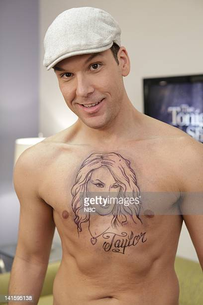 LENO Episode 3936 Pictured Comedian Dane Cook shows off his fake Taylor Swift tattoo on November 22 2010 Photo by Paul Drinkwater/NBC/NBCU Photo Bank