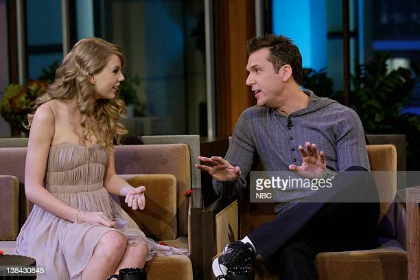 Singer Taylor Swift and comedian Dane Cook during an interview on November 22 2010