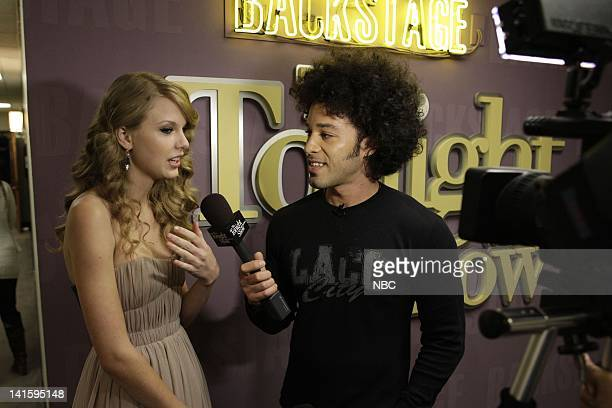 LENO Episode 3936 Pictured Singer Taylor Swift during an interview with Bryan Branly backstage on November 22 2010 Photo by Paul Drinkwater/NBC/NBCU...