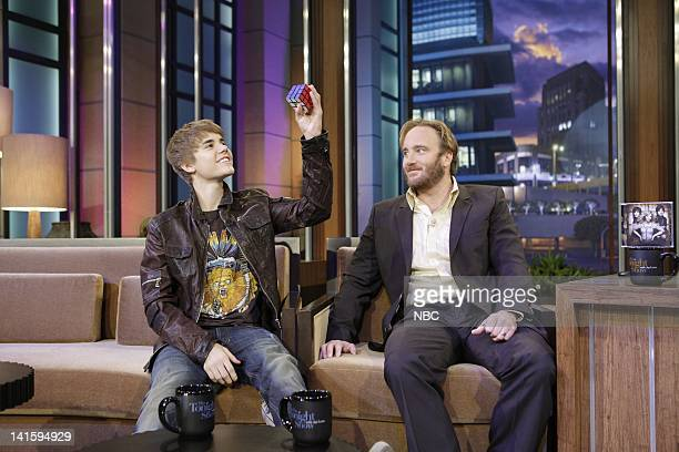LENO Episode 3978 Pictured Singer Justin Bieber actor Jay Mohr during a commercial break on January 28 2011 Photo by Paul Drinkwater/NBC/NBCU Photo...