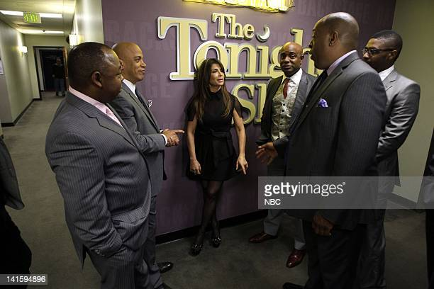 LENO Episode 3985 Pictured Paul Jackson Jr Rickey Minor Paula Abdul Dorian Holley Wayne Linsey and Randolph Ellis backstage on February 8 2011 Photo...