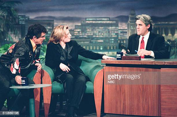 Actor Burt Reynolds and singer Taylor Dayne during an interview with host Jay Leno on February 14 1994