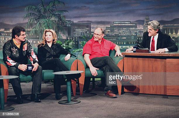 Singer Taylor Dayne Mayor Harvey Peterson and actor Burt Reynolds during an interview with host Jay Leno on February 14 1994