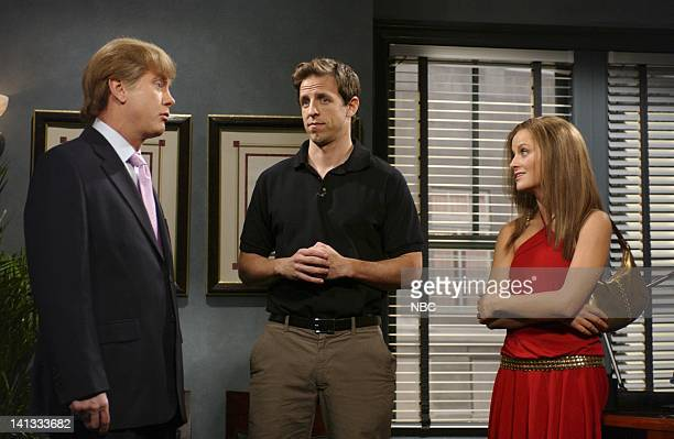 LIVE Episode 4 Air Date Pictured Darrell Hammond as Donald Trump Seth Meyers as director Amy Poehler as Arianne Zuker during 'Trump's Cameo' skit...
