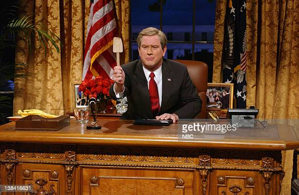 LIVE Episode 4 Air Date Pictured Darrell Hammond as President George W Bush during 'Weapon Discoveries' skit on November 1 2008