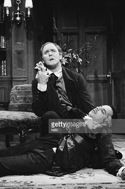 LIVE Episode 4 Air Date Pictured John Lithgow as Baudelaire Jon Lovitz as Master Thespian during 'Master Thespian' skit on December 7 1985 Photo by...