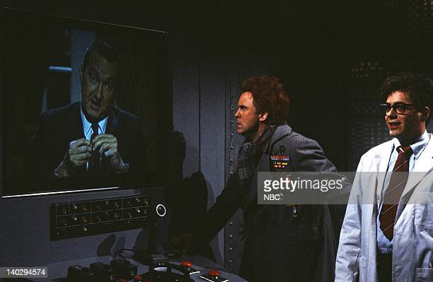 """Episode 4 -- Air Date -- Pictured: John Lithgow as Dr. Federico, Robert Downey Jr. As Bruce Winston, Randy Quaid as Ronald Reagan during """"Halley's..."""