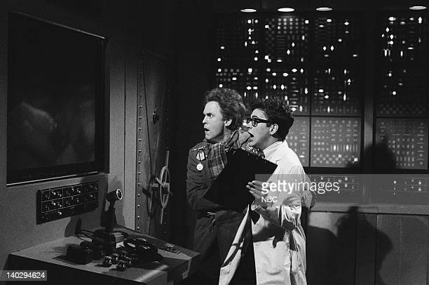 """Episode 4 -- Air Date -- Pictured: John Lithgow as Dr. Federico, Robert Downey Jr. As Bruce Winston during """"Halley's Comet"""" cold opening on December..."""