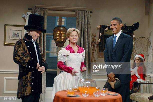 """Episode 4 -- Aired -- Pictured: Darrell Hammond as Bill Clinton, Amy Poehler as Hillary Clinton, Barack Obama during """"Clinton Halloween Party"""" skit"""