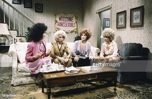 Betty Thomas as transexual Robin Duke as Georgina Mary Gross as transexual Julia LouisDreyfus as Sandy during Misfits skit on November 5 1983 Photo...