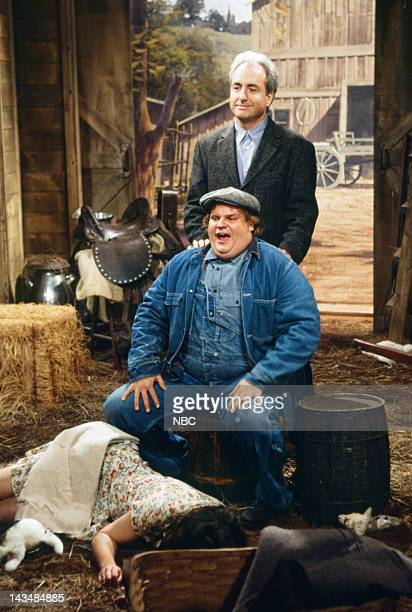 Chris Farley as Lennie Lorne Michaels during Of Mice and Men skit on October 23 1993