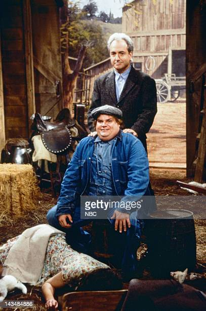 """Episode 4 -- Pictured: Chris Farley as Lennie, Lorne Michaels during """"Of Mice and Men"""" skit on October 23, 1993"""