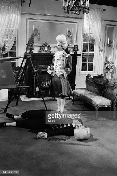 Dana Carvey as Lord Chirsty Phil Hartman as Painer during the 'Dancing Lord' skit on November 15 1986 Photo by Al Levine/NBC/NBCU Photo Bank