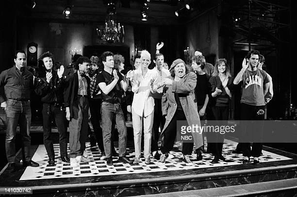 Jon Lovitz Unknown Unknown Lou Reed Seka Sam Kinison Dana Carvey Jan Hooks Kevin Nealon Dennis Miller during the closing on November 15 1986 Photo by...