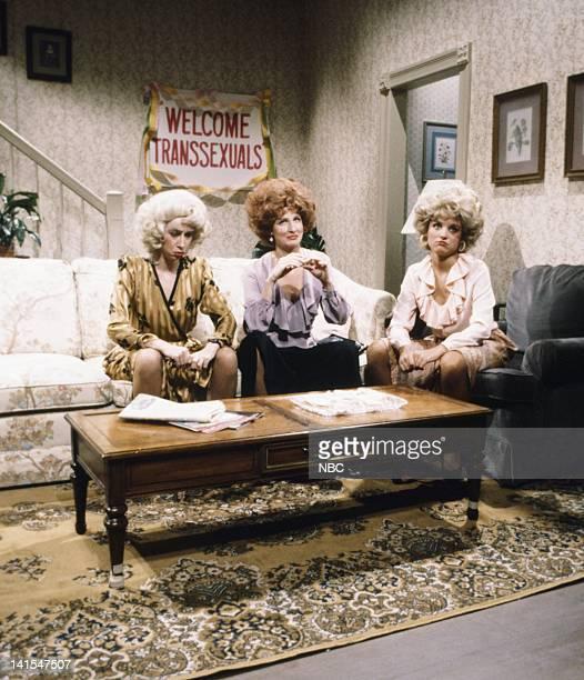 Robin Duke as Georgina Mary Gross as transexual Julia LouisDreyfus as Sandy during Misfits skit on November 5 1983 Photo by Alan Singer/NBC/NBCU...